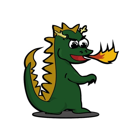 exhale: Little Green Dragon Exhale a Flame Illustration