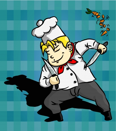 Blonde Chef in Action Stock Vector - 24197812