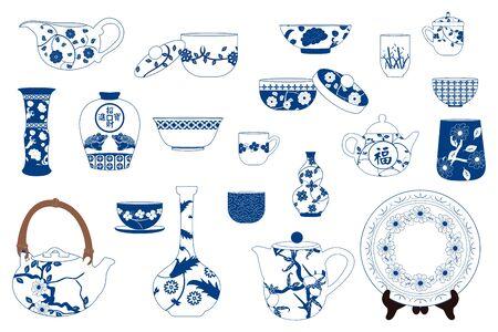 Chinesisches Porzellanset, Keramik-Teekanne, Wasserkocher, Krug, Teller, Vase, Schüssel, Krug, Glas, Topf, Tasse und Untertasse einzeln auf Weiß. Vektorgrafik