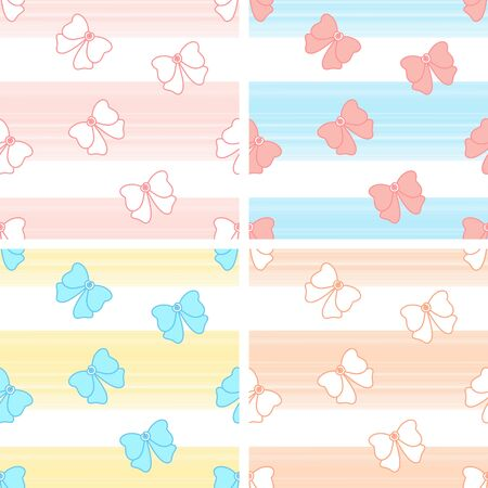Set of bow patterns. Pink, blue, yellow and peach striped with bow background.
