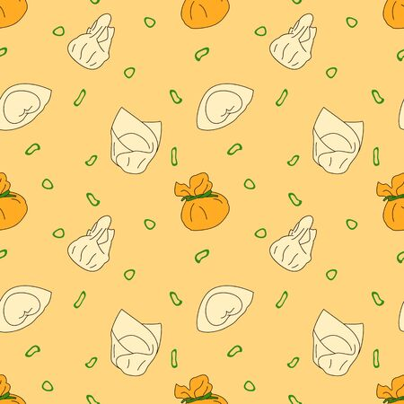 Doodle dumpling or wonton pattern background. Cartoon hand drawn Chinese food, Chinese cuisine and Asian food background.