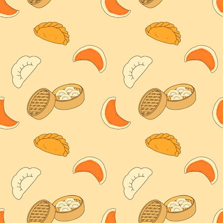 Doodle dumpling pattern background. Cartoon hand drawn Chinese food, Chinese cuisine and Asian food background. Fried dumpling, boiled dumpling and steamed dumpling. Stok Fotoğraf - 138432243
