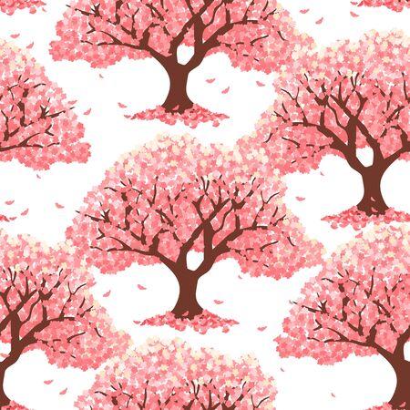 Pink cherry blossom tree or cherry tree background. Japanese sakura pattern background. Asian spring floral tree pattern background. Great for wallpaper, gifts, textile, card, packaging design. Illusztráció