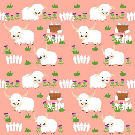 Scottish highland cattle seamless pattern background with fence, basket, milk and thistle. Cute fluffy calf or cows background. Great for children's book, wallpaper, fabric, card, packaging design.