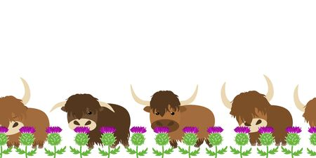 Cute Scottish highland cattle seamless pattern background and borders with thistle. Cattle or cows frame border seamless pattern. Great for children's book, wallpaper, fabric, card, packaging design.