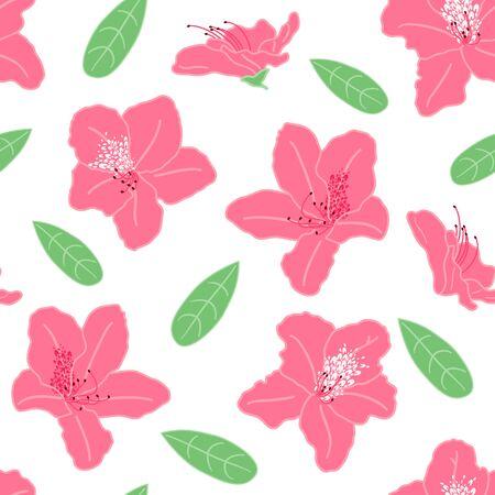 Różowe kwiaty azalia lub rododendron bezszwowe tło wzór. Doodle wiosna kwiatowy wzór tła. Doskonały do tapet, tekstyliów, tkanin, kart, projektów opakowań. Ilustracje wektorowe