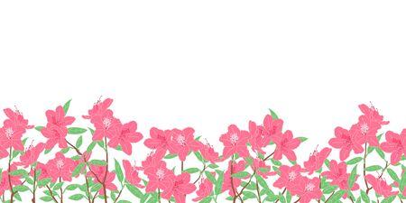 Romantyczne różowe kwiaty azalii lub kwiat rododendronów w wiosennym tle i obramowaniach. Kwiatowy wzór obramowania ramki. Świetne na tapetę, kartkę ślubną lub walentynkową, zaproszenie. Ilustracje wektorowe