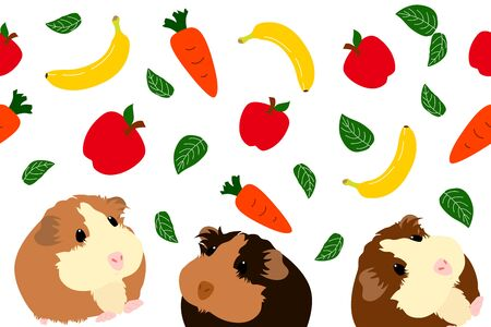 Cute guinea pig or cavy with apple, banana, carrot and basil seamless pattern background. Cartoon mouse or small rodent. Childish  illustration.