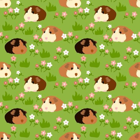 Adorable pet guinea pig or cavy seamless pattern background with grass and flowers. Cute cartoon mouse or small rodent in the grassland background. Childish  illustration. Illustration