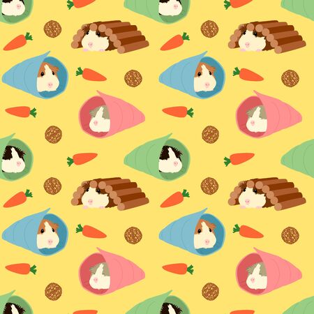 Cute mouse sleeping pattern background. Doodle guinea pig sleeping in the bag seamless pattern background with toys.