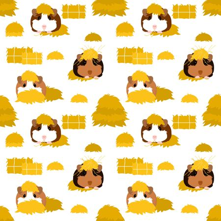 Cute cartoon mouse pattern background. Doodle guinea pig seamless pattern background with bale of hay. Illustration
