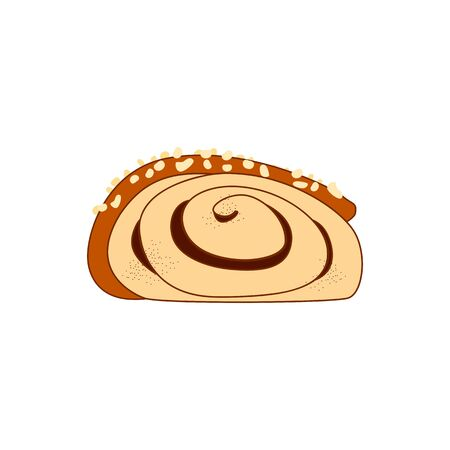 Cartoon cinnamon roll or cinnamon bun inside view isolated on white background. Traditional Finnish cinnamon roll, korvapuusti, slapped ears. Great for icon, card, symbol, invitation.