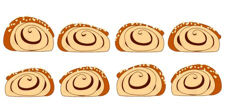 Doodle cinnamon rolls or cinnamon buns side view set. Traditional Finnish cinnamon roll, korvapuusti, slapped ears. Great for icon, card, symbol, invitation design.