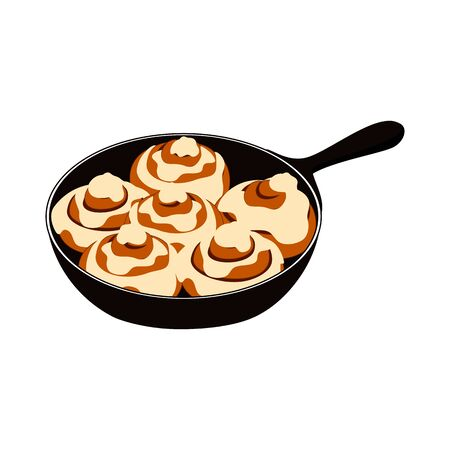 Doodle cinnamon buns or cinnamon rolls in cast iron skillet with cream cheese Icing isolated on white background. American style breakfast or dessert.