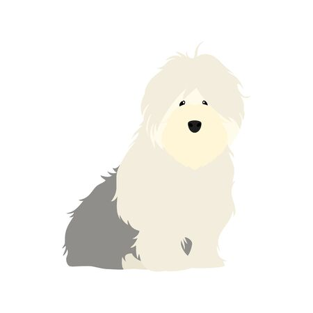 Adorable Old English Sheepdog puppy sitting isolated on white background. Cute cartoon long haired dog puppy. Childish vector illustration. Great for icon, symbol, children's book design.