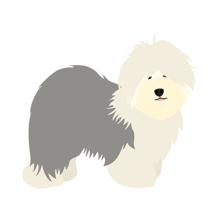 Doodle Old English Sheepdog puppy stands sideways isolated on white background. Cute cartoon long haired dog puppy. Childish vector illustration. Great for icon, symbol, children's book design.