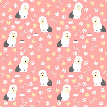Cute Old English Sheepdog puppy seamless pattern background with hand drawn bones, bowl, paws and hearts. Cartoon dog puppy background. Great for wallpaper, kids apparel, fabric, nursery decoration,