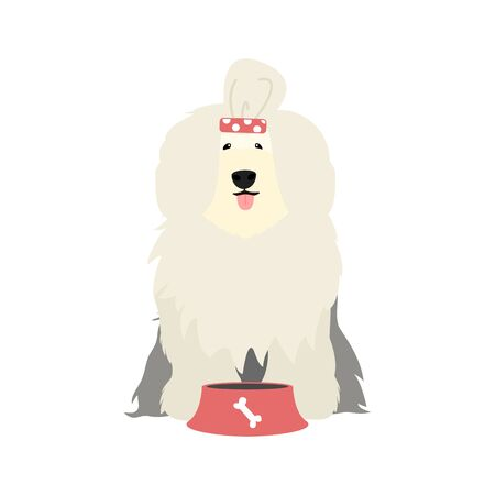 hungry Old English Sheepdog behind food bowl and licking with tongue isolated on white background. Cute cartoon long haired dog. Childish vector illustration. Great for icon, symbol, children's book  イラスト・ベクター素材