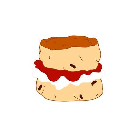 Doodle scone with jam and cream isolated on white background. Ilustração