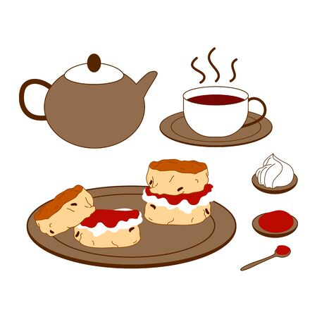 Set of traditional English afternoon tea with teapot, a cup of tea on a saucer, two scones filled with jam and cream on a plate. Doodle afternoon tea, tea party.