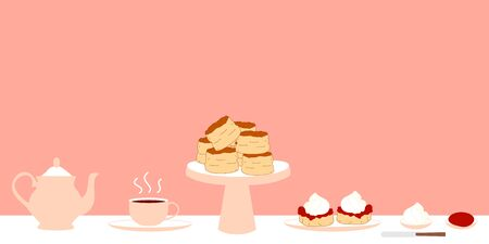 Set of traditional English cream tea with teapot, a cup of tea on a saucer, a butter knife, two scones with jam and cream on a plate. Doodle afternoon tea