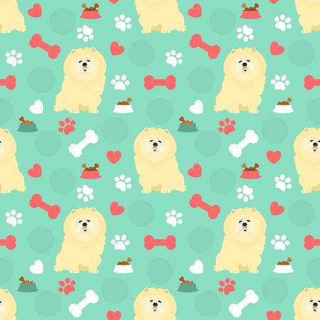 Cute chow chow dog seamless pattern background with hand drawn dog food, bone, dog bowl, paws and hearts. Cartoon dog puppy background.