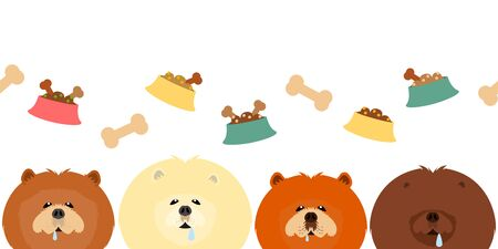 Cute dog sees food drooling seamless pattern background. Cartoon chow chow dog with food, bone and dog bowl. Illustration