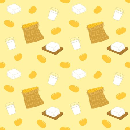 Cartoon soy food seamless pattern background with tofu or bean curd, soy milk and soybean or soya bean in a sack.
