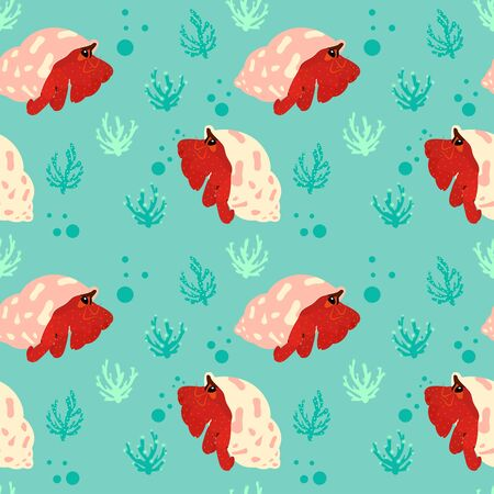 Cute cartoon hermit crab swimming underwater seamless pattern background with coral reef plant. Hand drawn childish vector illustration. Ocean animal or sea creature background.
