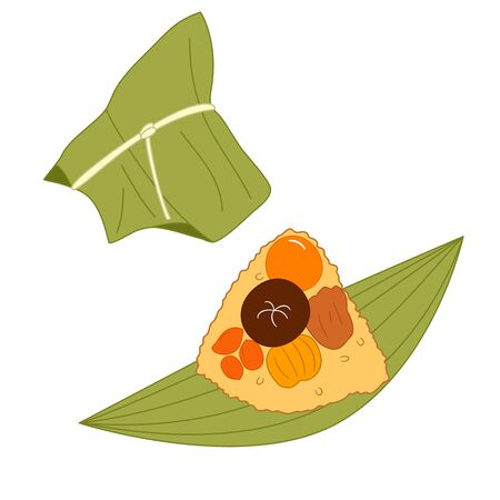 Chinese sticky rice dumpling or Zongzi isolated on white background. Cartoon hand drawn traditional Chinese rice dish, Asian food, dragon boat festival icon. Great for icon, symbol, logo, menu design.