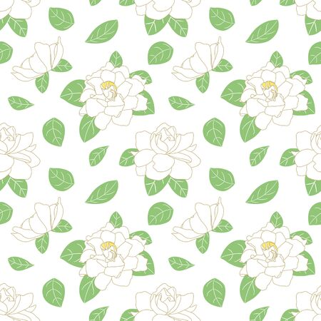 White Gardenia jasminoides or Cape jasmine flower seamless pattern background. Summer tropical floral pattern in hand drawn style. Great for wallpaper, wedding, invitation. Card, packaging design.