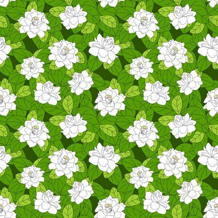 Summer flowering shrub in full bloom of Gardenia jasminoides or Cape jasmine flower seamless pattern background. Tropical Gardenia flower bush background. Great for wallpaper, card, packaging, fabric