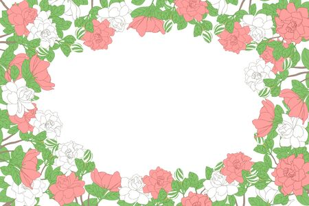 Floral horizontal frame template with white and pink gardenia jasminoides flowers, buds, branches and leaves. Romantic floral background with place for text. Soft colors. Great for wedding, valentine