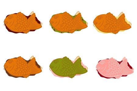Street food, Taiyaki, Japanese fish-shaped cake or Bungeo-ppang in various flavors isolated on white background. Red bean, custard cream, chocolate, matcha mochi and cherry blossom (sakura) fillings.