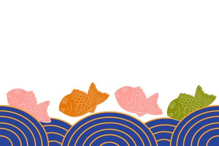 Cartoon style Taiyaki, Japanese fish-shaped cake or Bungeo-ppang seamless background and borders with sea. Hand drawn Japanese street food and snack, Asian food frame border pattern. Great for menu. Ilustração