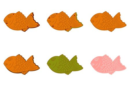 Taiyaki, Japanese fish-shaped cake or Bungeo-ppang in various flavors isolated on white background. Cartoon hand drawn Japanese or Korean street food and snack, Asian food icon. Great for menu design