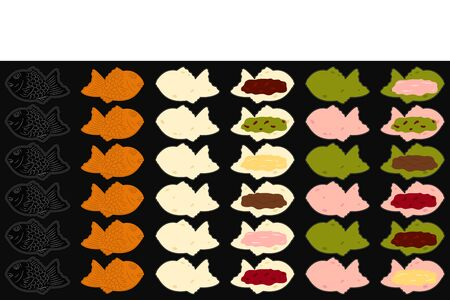 Delicious Taiyaki in various flavors cooking seamless pattern background and borders. Hand drawn Japanese street food and snack, Asian food frame border pattern. Great for menu, wallpaper design.