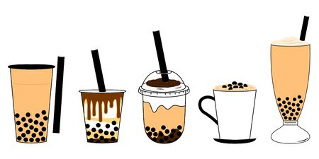 Doodle bubble tea, pearl milk tea or boba tea set isolated on white background with plastic cups, glass cup and mug. Cartoon hand drawn Taiwanese drink, street food, Asian drink. Great for icon, menu Ilustração