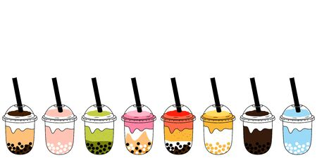 Doodle bubble tea, pearl milk tea or boba tea in various flavors isolated on white background and borders with plastic cup and straw. Milk tea, chocolate, matcha fruit flavors. Cartoon Taiwanese drink, Illustration