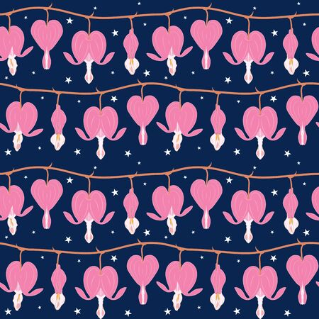 Cute doodle floral pattern. Asian bleeding heart flower in the starry night seamless pattern background. Heart shaped pink and white flowers, lyre flower, heart flower and lady in a bath.