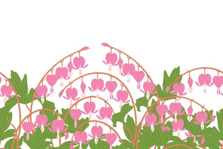 Spring flowers field seamless pattern background and borders with Asian bleeding heart, heart shaped pink and white flower, lyre flower, heart flower and lady in a bath. Floral frame border pattern.