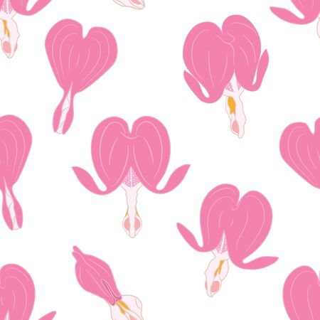 Cute doodle floral pattern. Asian bleeding heart flower in spring seamless pattern background. Heart shaped pink and white flowers, lyre flower, heart flower and lady in a bath. Great for wallpaper