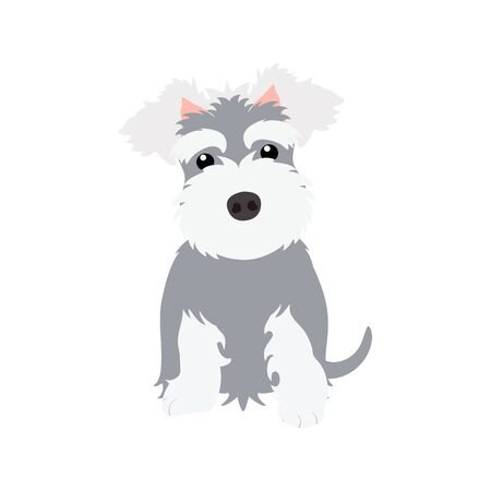 Miniature schnauzer puppy isolated on white background. Cartoon dog puppy icon vector. Hand drawn childish vector illustration. Great for icon, symbol, logo, children's book. Ilustração