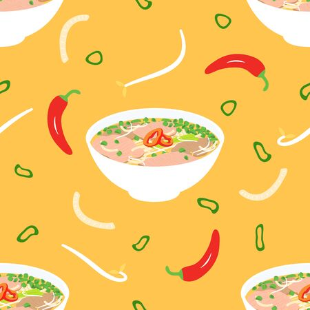 Traditional Vietnamese soup Pho bo seamless pattern background. Vietnamese soup consisting of broth, rice noodles, herbs, bean sprouts, onions, chilies and beef. Hand drawn Asian food, menu design.
