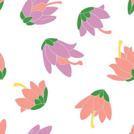 Purple and pink heather flowers seamless pattern background. Hand drawn summer floral pattern background. Great for wallpaper, textile, fabric, card, packaging, wedding design. Vektorgrafik