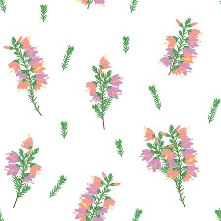 Romantic floral pattern background with heather flowers and evergreen foliage. Floral design, Flower arrangement pattern background. Great for packaging, invitation, wedding, wallpaper design. Vektorgrafik