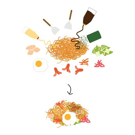 Cooking yakisoba with ingredients isolated on white background. Pork, mayonnaise, spatula, yakisoba sauce, aonori, cabbage, shredded pickled ginger, carrots, octopus sausages and egg.