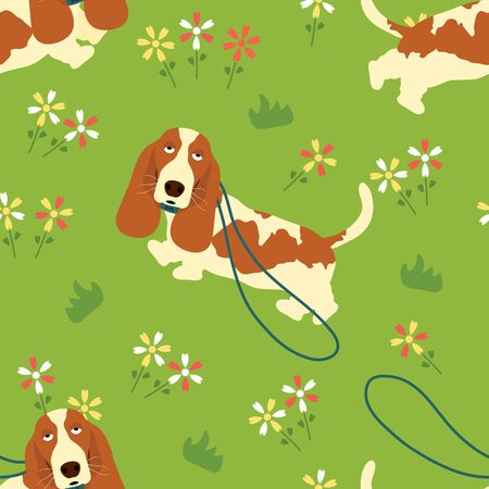 Walking with Basset Hound in a meadow seamless pattern background with dog leash. Cartoon dog puppy background. Hand drawn childish vector illustration. Great for wallpaper, textile design.
