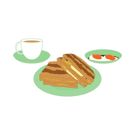 Kaya Toast isolated on white background. Traditional Singapore Breakfast. Cartoon hand drawn Singaporean food and Asian food. Great for menu, icon, logo design. Logos