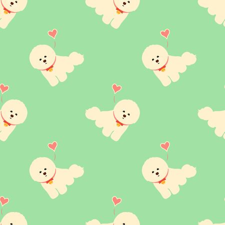 Bichon Frise seamless pattern background with bell collar and hearts. Cartoon dog puppy background. Hand drawn childish vector illustration. Great for children's book, wallpaper, packaging, valentine Illustration